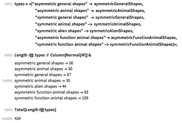 "types = <|""asymmetric general shapes"" -> aymmetricGeneralShapes,                 ""asymmetric animal shapes"" -> asymmetricAnimalShapes,                 ""symmetric general shapes""  -> symmetricGeneralShapes,                 ""symmetric animal shapes"" -> symmetricAnimalShapes,                  ""symmetric alien shapes"" -> symmetricAlienShapes,                     ""asymmetric function animal shapes"" ->      asymmetricFunctionAnimalShapes,                     ""symmetric function animal shapes"" ->      symmetricFunctionAnimalShapes|>;"