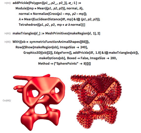 addPrickle[Polygon[{p1_, p2_, p3_}], \[Alpha]_: 1 ] :=   Module[{mp = Mean[{p1, p2, p3}], normal, \[Lambda]},   normal = Normalize[Cross[p1 - mp, p2 - mp]];   \[Lambda] = Mean[EuclideanDistance[#, mp] & /@ {p1, p2, p3}];   Tetrahedron[{p1, p2, p3, mp + \[Alpha] \[Lambda] normal}] ]