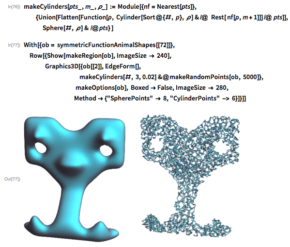 makeCylinders[pts_, m_, \[Rho]_] := Module[{nf = Nearest[pts]},     {Union[Flatten[      Function[p,         Cylinder[Sort@{#, p}, \[Rho]] & /@  Rest[ nf[p, m + 1]]] /@        pts]],     Sphere[#, \[Rho]] & /@ pts} ]
