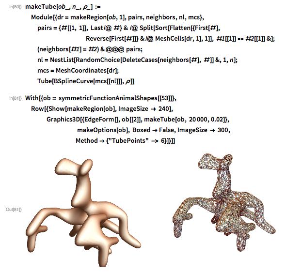 makeTube[ob_, n_, \[Rho]_] :=  Module[{dr = makeRegion[ob, 1], pairs, neighbors, nl, mcs},   pairs = {#[[1, 1]], Last /@ #} & /@ Split[Sort[Flatten[{First[#],            Reverse[First[#]]} & /@ MeshCells[dr, 1],         1]], #1[[1]] == #2[[1]] &];   (neighbors[#1] = #2) & @@@ pairs;   nl = NestList[RandomChoice[DeleteCases[neighbors[#], #]] &, 1, n];   mcs = MeshCoordinates[dr];   Tube[BSplineCurve[mcs[[nl]]], \[Rho]]]