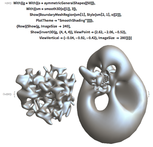 """With[{g = With[{o = aymmetricGeneralShapes[[50]]},     With[{sm = smooth3D[o[[1]], 3]},      Show[BoundaryMeshRegion[sm[[1]], Style[sm[[2, 1]], o[[2]]],        PlotTheme -> """"SmoothShading""""]]]]},  {Row[{Show[g, ImageSize -> 240],                 Show[invert3D[g, {4, 4, 4}], ViewPoint -> {2.62, -2.06, -0.52},                       ViewVertical -> {-0.04, -0.92, -0.42},       ImageSize -> 280]}]}]"""