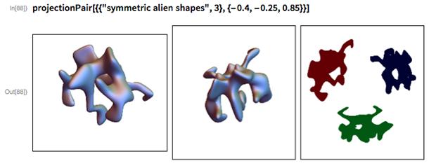 """projectionPair[{{""""symmetric alien shapes"""", 3}, {-0.4, -0.25, 0.85}}]"""