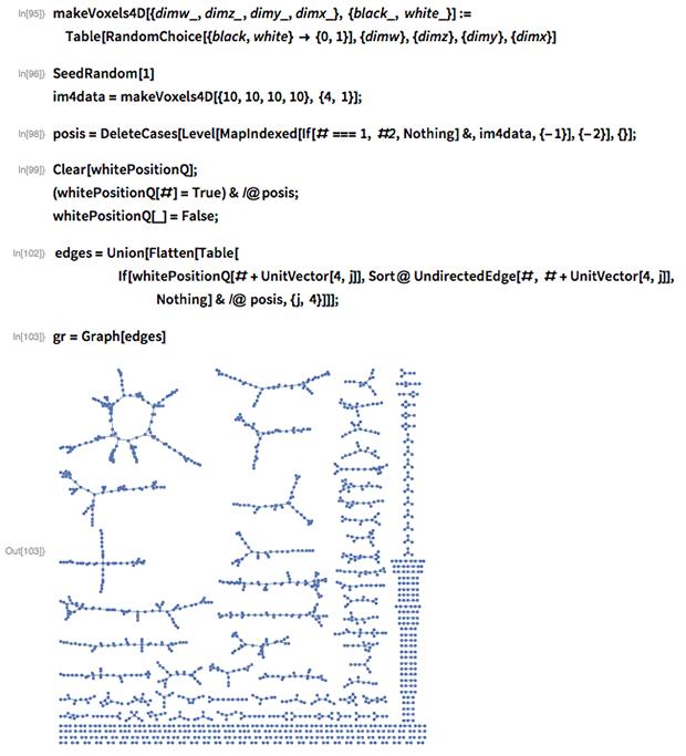 makeVoxels4D[{dimw_, dimz_, dimy_, dimx_}, {black_, white_}] :=  Table[RandomChoice[{black, white} -> {0,       1}], {dimw}, {dimz}, {dimy}, {dimx}]