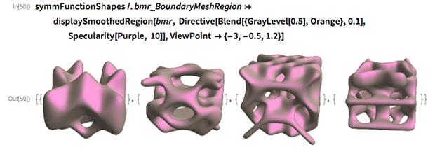 symmFunctionShapes /. bmr_BoundaryMeshRegion :>    displaySmoothedRegion[bmr,     Directive[Blend[{GrayLevel[0.5], Orange}, 0.1],      Specularity[Purple, 10]], ViewPoint -> {-3, -0.5, 1.2}]
