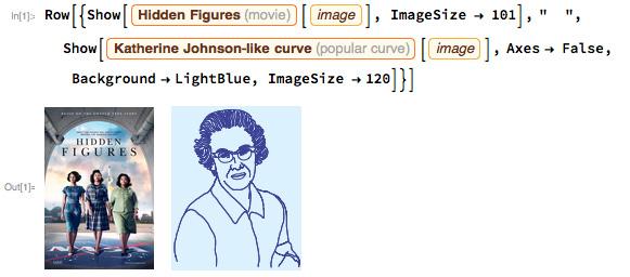 """Row[{Show[    Entity[""""Movie"""", """"HiddenFigures::k39bj""""][     EntityProperty[""""Movie"""", """"Image""""]], ImageSize -> 101], """"  """",    Show[Entity[""""PopularCurve"""", """"KatherineJohnsonCurve""""][     EntityProperty[""""PopularCurve"""", """"Image""""]], Axes -> False,     Background -> LightBlue, ImageSize -> 120]}]"""
