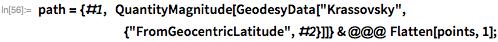 "path = {#1,  QuantityMagnitude[GeodesyData[""Krassovsky"",        {""FromGeocentricLatitude"", #2}]]} & @@@ Flatten[points, 1];"