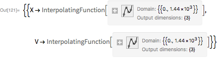 """ndsEuler =   NDSolve[Join[odeSystem, inits], {X, V}, {t, 0, tMax},    Method -> {""""FixedStep"""", Method -> """"ExplicitEuler""""},    StartingStepSize -> 0.05]"""