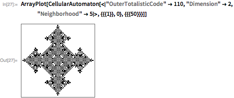 "ArrayPlot[  CellularAutomaton[<|""OuterTotalisticCode"" -> 110, ""Dimension"" -> 2,     ""Neighborhood"" -> 5