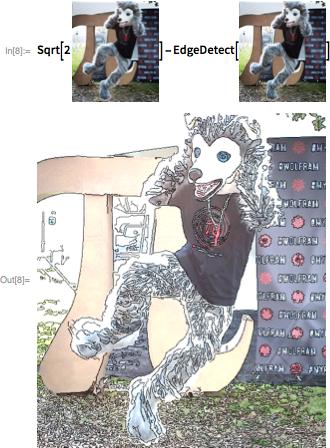 Sqrt[2 Wolfie Image]-EdgeDetect[Wolfie Image]