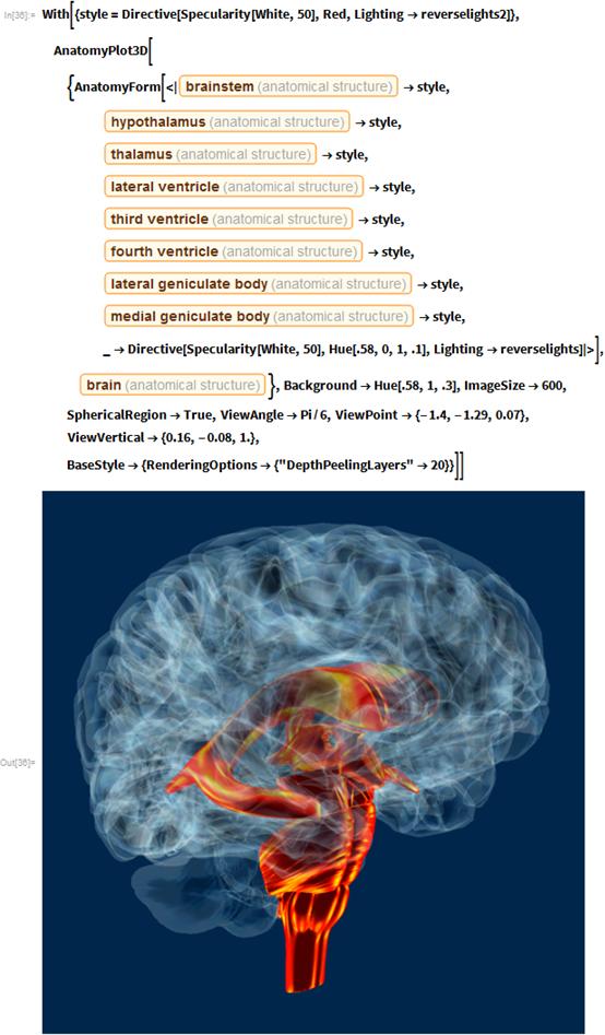 "With[{style =     Directive[Specularity[White, 50], Red,      Lighting -> reverselights2]},   AnatomyPlot3D[{AnatomyForm[<|      Entity[""AnatomicalStructure"", ""Brainstem""] -> style,       Entity[""AnatomicalStructure"", ""Hypothalamus""] -> style,       Entity[""AnatomicalStructure"", ""Thalamus""] -> style,       Entity[""AnatomicalStructure"", ""LateralVentricle""] -> style,       Entity[""AnatomicalStructure"", ""ThirdVentricle""] -> style,       Entity[""AnatomicalStructure"", ""FourthVentricle""] -> style,       Entity[""AnatomicalStructure"", ""LateralGeniculateBody""] -> style,       Entity[""AnatomicalStructure"", ""MedialGeniculateBody""] ->        style, _ ->        Directive[Specularity[White, 50], Hue[.58, 0, 1, .1],         Lighting -> reverselights]|>],     Entity[""AnatomicalStructure"", ""Brain""]},    Background -> Hue[.58, 1, .3], ImageSize -> 600,    SphericalRegion -> True, ViewAngle -> Pi/6,    ViewPoint -> {-1.4, -1.29, 0.07}, ViewVertical -> {0.16, -0.08, 1.},    BaseStyle -> {RenderingOptions -> {""DepthPeelingLayers"" -> 20}}]]"