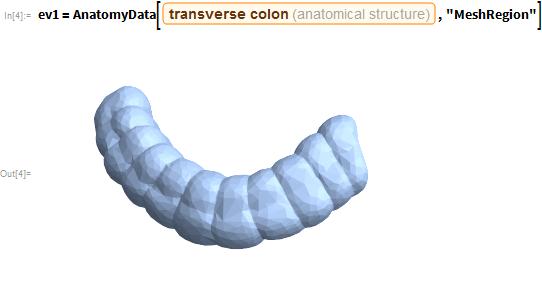 "ev1 = AnatomyData[Entity[""AnatomicalStructure"", ""TransverseColon""],    ""MeshRegion""]"