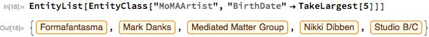 "EntityList[EntityClass[""MoMAArtist"", ""BirthDate"" -> TakeLargest[5]]]"