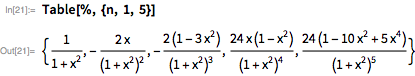 Table[%, {n, 1, 5}]