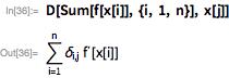 D[Sum[f[x[i]], {i, 1, n}], x[j]]