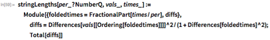 stringLengths[per_?NumberQ, vals_, times_] :=   Module[{foldedtimes = FractionalPart[times/per], diffs},    diffs = Differences[vals[[Ordering[foldedtimes]]]]^2/(1 +        Differences[foldedtimes]^2);   Total[diffs]]
