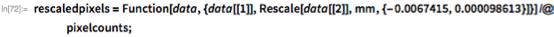 rescaledpixels =    Function[data, {data[[1]],       Rescale[data[[2]], mm, {-0.0067415, 0.000098613}]}] /@     pixelcounts;