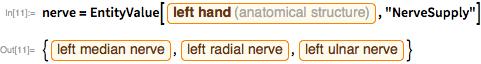 """nerve = EntityValue[Entity[""""AnatomicalStructure"""", """"LeftHand""""],    """"NerveSupply""""]"""