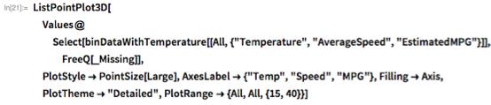 "ListPointPlot3D[  Values@Select[    binDataWithTemperature[[     All, {""Temperature"", ""AverageSpeed"", ""EstimatedMPG""}]],     FreeQ[_Missing]],  PlotStyle -> PointSize[Large], AxesLabel -> {""Temp"", ""Speed"", ""MPG""},   Filling -> Axis, PlotTheme -> ""Detailed"",   PlotRange -> {All, All, {15, 40}}]"