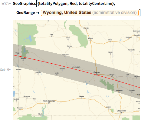 "GeoGraphics[{totalityPolygon, Red, totalityCenterLine},   GeoRange ->    Entity[""AdministrativeDivision"", {""Wyoming"", ""UnitedStates""}]]"
