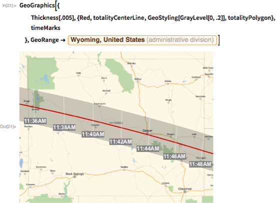 "GeoGraphics[{   Thickness[.005], {Red, totalityCenterLine,     GeoStyling[GrayLevel[0, .2]], totalityPolygon},   timeMarks   }, GeoRange ->    Entity[""AdministrativeDivision"", {""Wyoming"", ""UnitedStates""}]]"