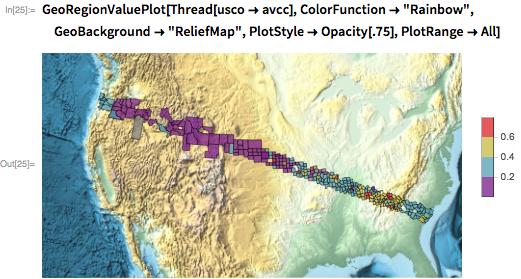 "GeoRegionValuePlot[Thread[usco -> avcc], ColorFunction -> ""Rainbow"",   GeoBackground -> ""ReliefMap"", PlotStyle -> Opacity[.75],   PlotRange -> All]"