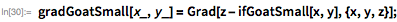gradGoatSmall[x_, y_] = Grad[z - ifGoatSmall[x, y], {x, y, z}];