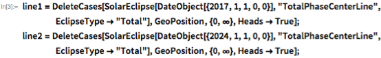 """line1 = DeleteCases[    SolarEclipse[DateObject[{2017, 1, 1, 0, 0}],      """"TotalPhaseCenterLine"""", EclipseType -> """"Total""""],     GeoPosition, {0, \[Infinity]}, Heads -> True]; line2 = DeleteCases[    SolarEclipse[DateObject[{2024, 1, 1, 0, 0}],      """"TotalPhaseCenterLine"""", EclipseType -> """"Total""""],     GeoPosition, {0, \[Infinity]}, Heads -> True];"""