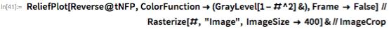 "ReliefPlot[Reverse@tNFP, ColorFunction -> (GrayLevel[1 - #^2] &),     Frame -> False] //                                                                      Rasterize[#, ""Image"", ImageSize -> 400] & // ImageCrop"