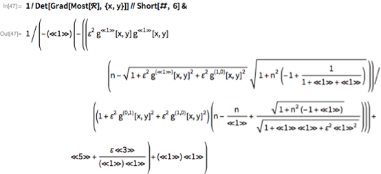 1/Det[Grad[Most[\[ScriptCapitalR]], {x, y}]] // Short[#, 6] &