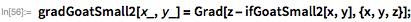 gradGoatSmall2[x_, y_] = Grad[z - ifGoatSmall2[x, y], {x, y, z}];
