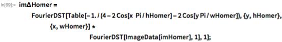 im\[CapitalDelta]Homer =    FourierDST[    Table[-1./(4 - 2 Cos[x  Pi/hHomer] - 2 Cos[y Pi/wHomer]), {y,        hHomer}, {x, wHomer}] *                                                  FourierDST[ImageData[imHomer], 1], 1];