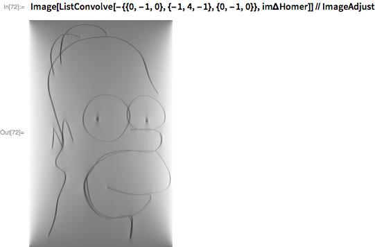 Image[ListConvolve[-{{0, -1, 0}, {-1, 4, -1}, {0, -1, 0}},     im\[CapitalDelta]Homer]] // ImageAdjust