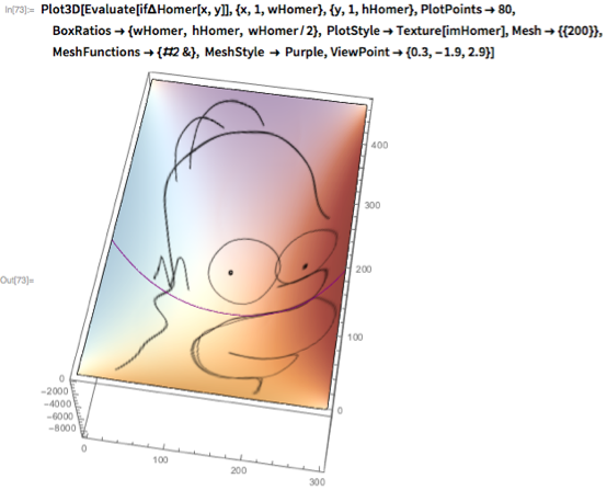 Plot3D[Evaluate[if\[CapitalDelta]Homer[x, y]], {x, 1, wHomer}, {y, 1,    hHomer}, PlotPoints -> 80,  BoxRatios -> {wHomer, hHomer, wHomer/2},   PlotStyle -> Texture[imHomer], Mesh -> {{200}},  MeshFunctions -> {#2 &}, MeshStyle -> Purple,   ViewPoint -> {0.3, -1.9, 2.9}]