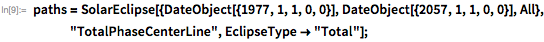 "paths = SolarEclipse[{DateObject[{1977, 1, 1, 0, 0}],      DateObject[{2057, 1, 1, 0, 0}], All}, ""TotalPhaseCenterLine"",     EclipseType -> ""Total""];"