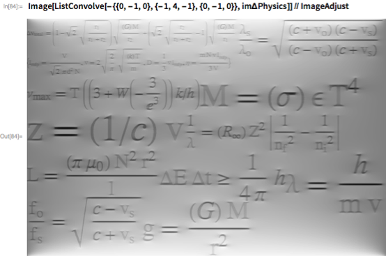 Image[ListConvolve[-{{0, -1, 0}, {-1, 4, -1}, {0, -1, 0}},     im\[CapitalDelta]Physics]] // ImageAdjust