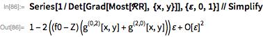 Series[1/Det[     Grad[Most[\[ScriptCapitalR]R], {x, y}]], {\[CurlyEpsilon], 0,     1}] // Simplify