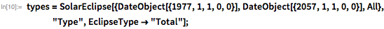 """types = SolarEclipse[{DateObject[{1977, 1, 1, 0, 0}],      DateObject[{2057, 1, 1, 0, 0}], All}, """"Type"""",     EclipseType -> """"Total""""];"""