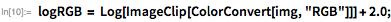 "logRGB = Log[ImageClip[ColorConvert[img, ""RGB""]]] + 2.0;"