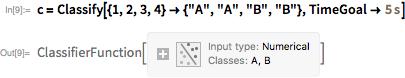 c = Classify[{1, 2, 3, 4} -> {