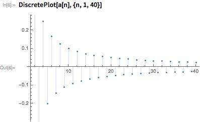 DiscretePlot[a[n], {n, 1, 40}]