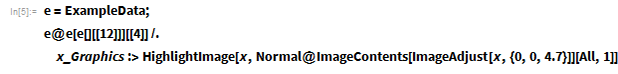e = ExampleData; e@e[e[][[12]]][[4]] /.   x_Graphics :>    HighlightImage[x,     Normal@ImageContents[ImageAdjust[x, {0, 0, 4.7}]][All, 1]]