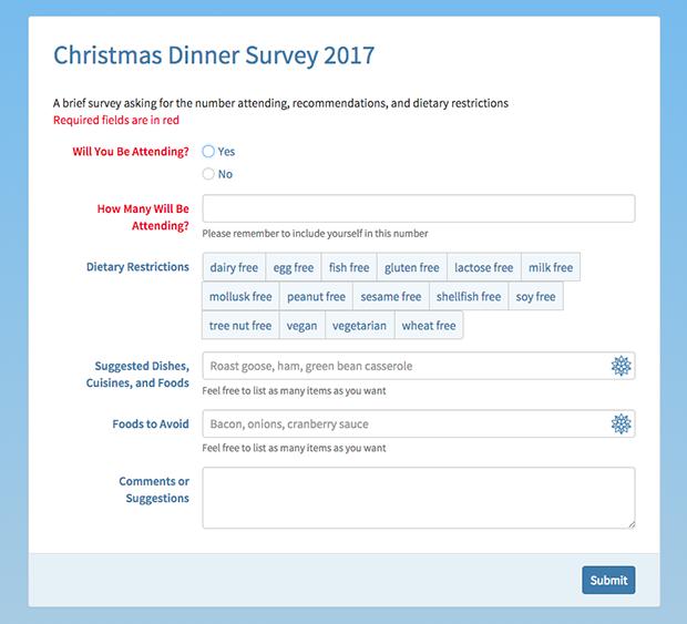 Christmas dinner survey screen shot