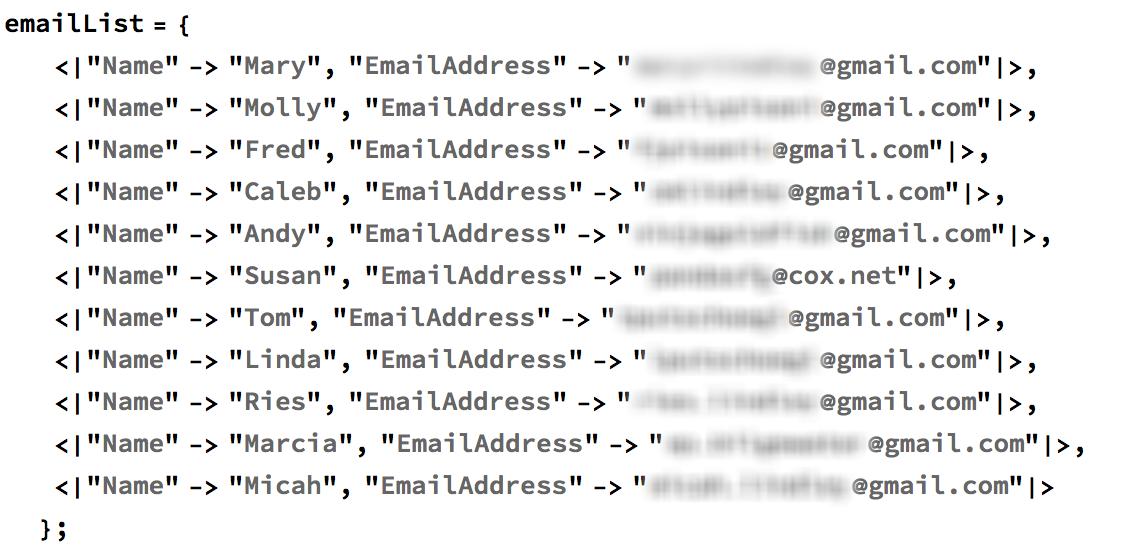 emailList code