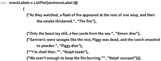 "eventLabels = ListPlot[sentenceLabel /@     {      {""As they watched, a flash of fire appeared at the root of one \ wisp, and then the smoke thickened."", ""The fire""},            {""Only the beast lay still, a few yards from the sea."",        ""Simon dies""},      {""Samneric were savages like the rest; Piggy was dead, and the \ conch smashed to powder."", ""Piggy dies""},      {""\[OpenCurlyDoubleQuote]I\[CloseCurlyQuote]m chief then.\ \[CloseCurlyDoubleQuote]"", ""Ralph leads""},      {""We aren\[CloseCurlyQuote]t enough to keep the fire burning.\ \[CloseCurlyDoubleQuote]"", ""Ralph usurped""}}];"