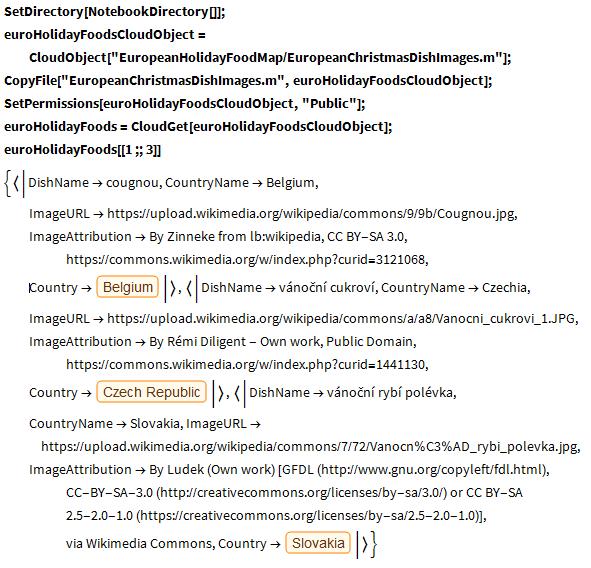 euroHolidayFoodsCloudObject code