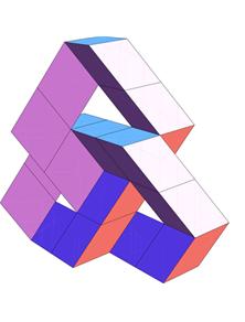 Folded strip of rhombus graphic