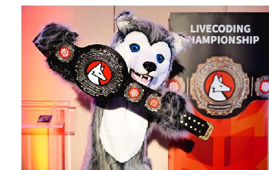 Wolfie with tournament belt