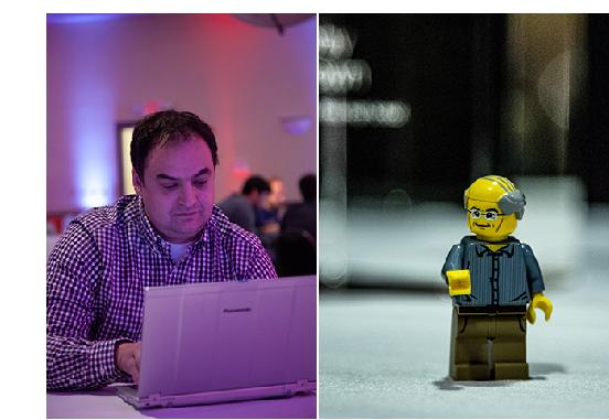 Left: Philip Maymin. Right: Tech CEO mini-figure.