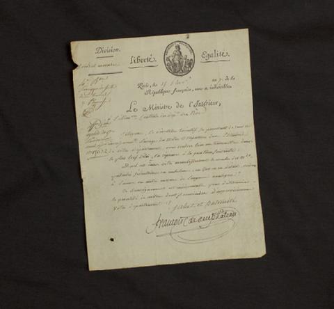 Letter from François de Neufchâteau