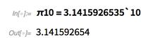 π10=3.1415926535`10